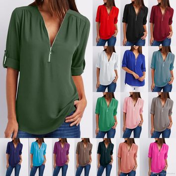 Summer Women Zipper Front Deep V Neck Ladies Fashion Casual Tops Sexy Zipper Blouse -Three Quarter Sleeve Chiffon Loose Tank Top