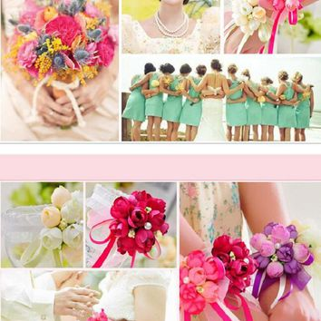 Rose Wrist Corsage Bridesmaid Sisters hand flowers Artificial Bride Flowers For Wedding Party Decoration Bridal Prom
