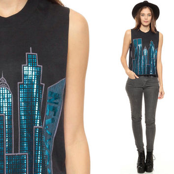 New York City Shirt 80s Skyline NYC Tank Top WTC Black 90s Vintage World Trade Center Metallic Crop 1980s American Travel Extra Small xs