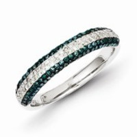 Sterling Silver Blue and White Diamond Band Ring