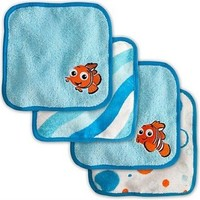 "Disney Finding Nemo Bathtime Fun Rub - a - dub Fun 4 pack Washcloths Measuring 9"" x 9"""