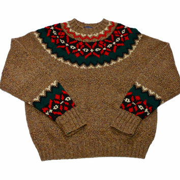 Vintage 90s Gap Hand Knit Wool Sweater Mens Size Large