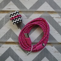 New Super Cute Black & White Chevron Jeweled Designed Wall iphone 5/5s Charger + 10ft Hot Pink Braided Cable Cord Super Long