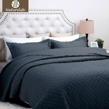 Naturelife Navy color Quilt Set Bedspread Bed Cover Quilted Bedding Set Duvet Cover Pillowcase Quilts Warm Coverlet Set