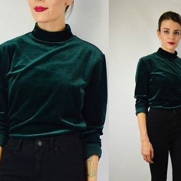 90s Velvet Shirt Soft Grunge MED Ribbed Corduroy Green Mock Turtleneck  Fuzzy Soft long sleeve womens vintage clothing lee brand