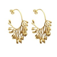Gold-Plated Fanned Seed Pod Hoop Earrings