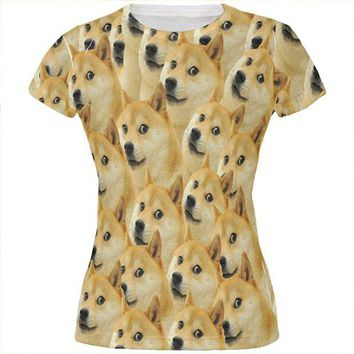 DCCKU3R Doge Meme Funny All Over Juniors T Shirt