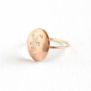 "Antique 10k Rose Gold Initial ""F"" Ring - Size 5 Early 1900s Victorian Edwardian Fine S"