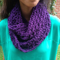 Charity Item, Crochet Infinity Scarf, Purple, 50% Cancer Donation