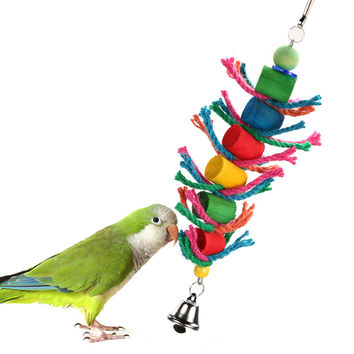 Wooden Bird Toys Colorful Swing Hanging Bird Cage Chew Rope Toys for Hamster Parrot Macaw Cockatiel Pet Bird Supplies