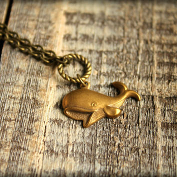 Cheerful Whale Necklace by saffronandsaege on Etsy