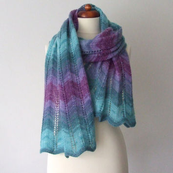 ON SALE oversize knit scarf purple teal shawl wrap