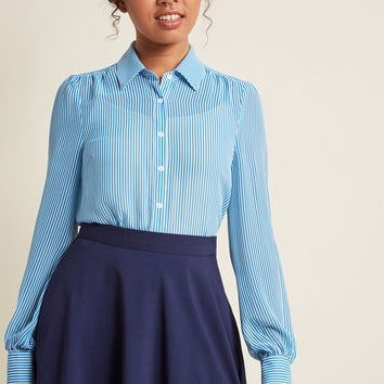 Classic Striped Button-Up Top in Blue