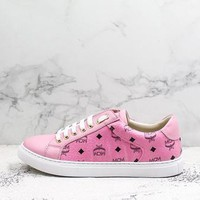Mcm Angel Visetos Classic Pink Leather Sneakers