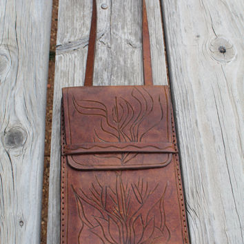 Vintage Leather Handbag Purse Hippie Boho Western Festival Bag Saddle Bag