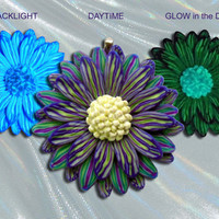 Handmade in the USA EyeGloArts Glow in the dark and blacklight jewelry Purple Blue White and Green neon Daisy Pendant