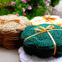 8 Pcs-Lot,  Handmade Crocheted Doilies