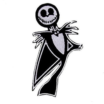Jack Skellington Body Patch Iron On Black & White Applique
