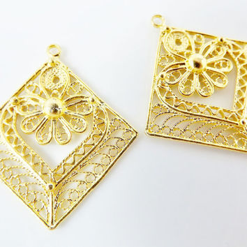 2 Delicate Diamond Shaped Exotic Filigree Telkari Earring Component Pendants - 22k Gold Plated