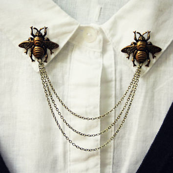 CYBER MONDAY SALE brass bee collar pins, collar chain, collar brooch, lapel pin, bee pin, bee brooch