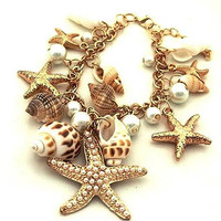 Womens Jewlery Sweet Nature Sea Shell Pearl Bracelet