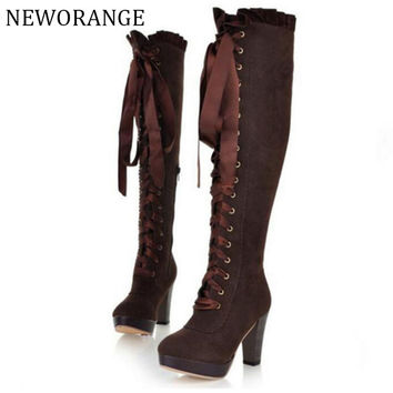 2017 Fashion Knee High Boots British Women High Heeled Riding Knight Boots Fall Winter Lace Up Women Shoes Sizes 34-43 WBS579