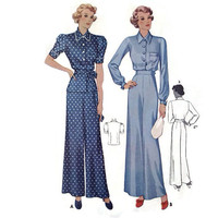 "Vintage McCall's Sewing Pattern, 1930's, Ladies Blouse and Trousers, Pajamas, Size 16, 34"" Bust, 28"" Waist, #9408, Pieces Cut, Movie Costume"