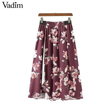 Women vintage floral midi pleated skirt split elastic waist female retro fashion casual mid calf length skirts