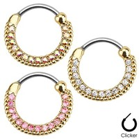 Round Paved Gems Gold Tone Surgical Steel Septum Clicker