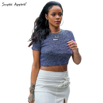 Rihanna European sexy crop top Women tops short sleeve tank top knitted top Fitness elastic knitwear t-shirt