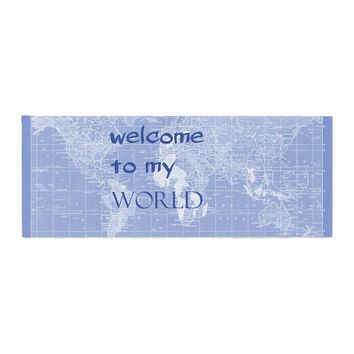 "Catherine Holcombe ""Welcome to my World Quote Indigo"" Bed Runner"