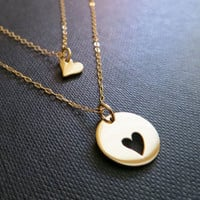 Mother daughter necklace, two gold heart necklaces, mother daughter jewelry, mother and daughter