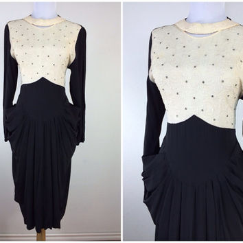 Vintage 1940s cocktail dress / 40s dress / rhinestone accents amazing pockets