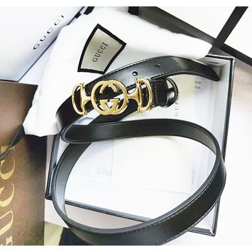 GUCCI Fashion New Personality Letter Buckle Women Men Belt Width 2.5 CM