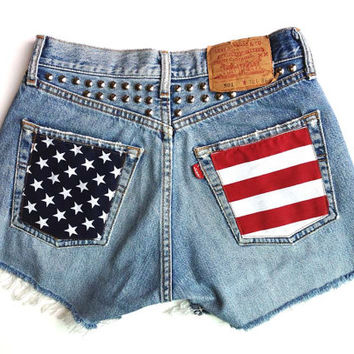 high waist Levis customized short American flag and studs distressed denim hot pant