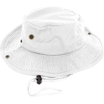 100% Cotton Boonie Fishing Bucket Men Safari Summer String Hat Cap (15+ Colors)