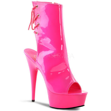 Hot Pink Neon Ankle Boot 6 Inch Heel Stripper Boot