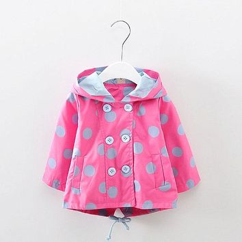 Trench Jacket for Kids Girls Dot Hooded Spring Coats Newborn Baby Birthday Clothes Outerwear Sport Coat Infant Girl Jackets