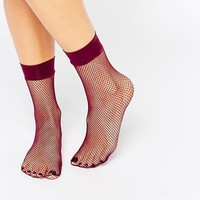 ASOS Berry Fishnet Ankle Sock at asos.com