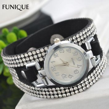 FUNIQUE Women Rhinestone Bracelet Watches Korean Velvet Leather Strap Small Dial Quartz Wrist Watch Fashion Gifts For Ladies