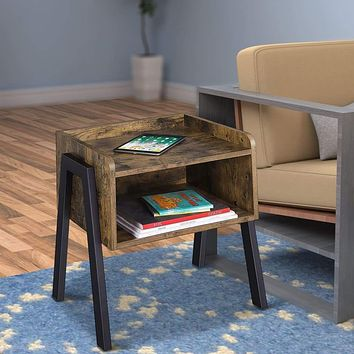 Wooden Stackable End Table with Inverted Iron Legs and Storage Compartment, Brown and Black By Casagear Home