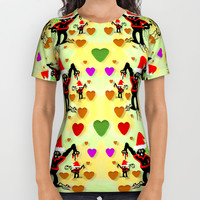 Santa with friends and season love All Over Print Shirt by Pepita Selles