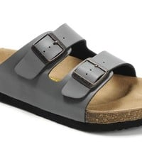 2017 Birkenstock Summer Fashion Leather Cork Flats Beach Lovers Slippers Casual Sandals For Women Men Couples Slippers color Grey size 36-45