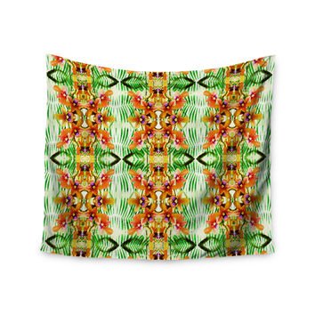 """Dawid Roc """"Tropical Flowers-Palm Leaves"""" Yellow Pattern Wall Tapestry"""
