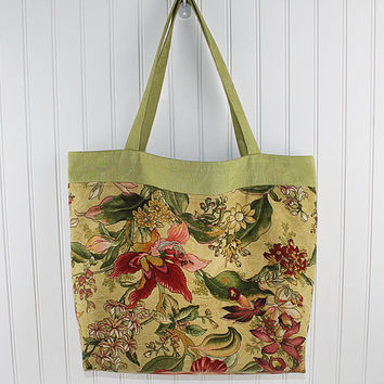 Green Floral Print Large Farmers Market Bag or Beach Bag, Big Tote Bag, Reusable Grocery Bag, MK111