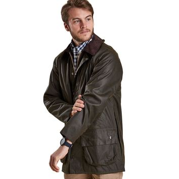 Classic Beaufort Waxed Jacket in Olive by Barbour