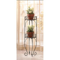 Lacy Scrolls Verdigris Style Iron 2-Tier Plant Shelf Stand
