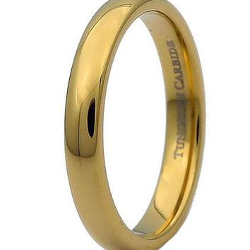 3MM Yellow Gold Tungsten Carbide Half Dome Wedding Band