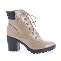Ranger22 Natural Patent By Breckelle's, Lace Up Padded Collar Lug Sole Heel Combat Ankle Boots