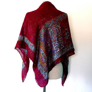 Dark red floral panel scarf / multicoloured / rainbow / metallic / shimmer / purple / orange / vintage / gift / wrap / large square scarf